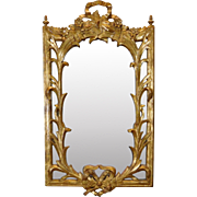 Very Fine Decorative 20th Century Gilded Gesso Hanging Wall Mirror w/ Ribbons & Scrolls