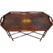 Great Inlaid Mahogany Councill Craftsmen Chippendale Style Tray Top Table On Spider Stretcher Base