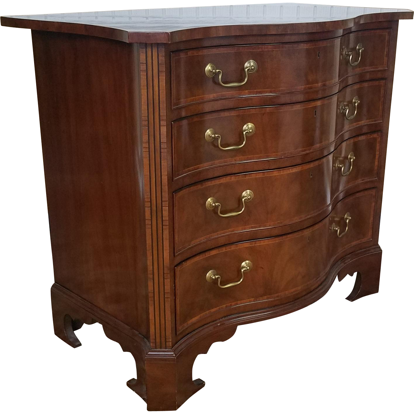 High Quality Baker Furniture Stately Homes English George III Mahogany 4 Drawer  Serpentine Chest No 5300
