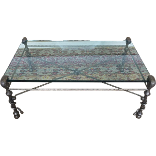 Polished and Hammered Steel Glass Top Living Room Coffee Table Style Of Giacometti 1980s