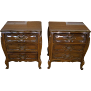 Pair 1960s Bombe Style Italian Provincial 3 Drawer Night Table Stands w/ Glass Tops