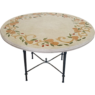 "Contemporary Italian Inlaid Stone Resin Top w/ Iron Base 48"" Kitchen Table"