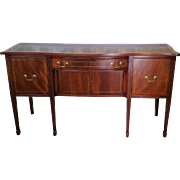 Traditional 1940s Line Inlaid Mahogany Sheraton Style Dining Room Sideboard