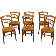 Set 6 Antique Restored Unusual Formed Spindle Splat Rush Seated Art-Nouveau Chairs c1900
