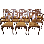 Very Fine Set 12 Antique Late 19th Century Walnut Queen Anne Style Dining Room Chairs