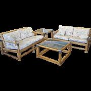 4 Piece Rattan & Chrome / Glass Windwood Inc Patio Porch Set 1990s