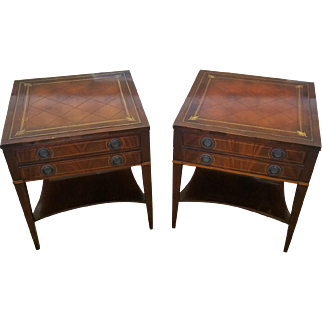 Pair 1950s Banded & Inlaid Leather Top 2 Drawer Living Room Side Tables