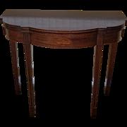 Mahogany Sheraton Style Paine Furniture Flip Top Console Hallway Table c1940s