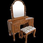 1930s Post Art Deco Walnut Traditional Bedroom Vanity & Mirror with Bench