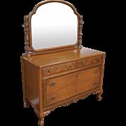 1930s Post Art-Deco Walnut Bedroom 4 Drawer Dresser with Swivel Mirror
