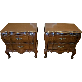 Pair White Furniture Company Fruitwood French Provincial Bedroom 2 Drawer Night Table Stands c1960s
