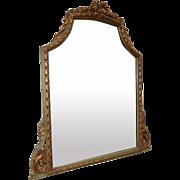 Fine Antique French 1920s Gilded Framed Etched Bedroom Dresser Mirror
