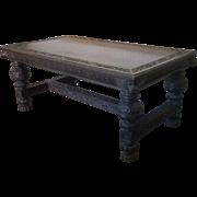 Antique 19th Century Carved Oak Renaissance Revival Figural Writing Desk c1860s