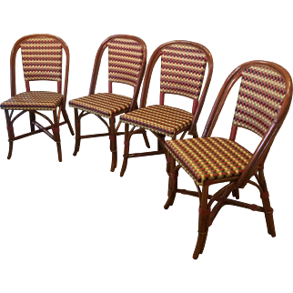 Set Of 4 Glac Seat ~ Poitoux Parisian Style Red - Tan - Black Caned & Rattan