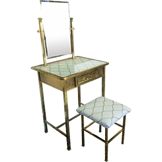 Vintage 1940s French Deco Brass Bedroom Vanity Dressing Table & Mirror w/ Stool
