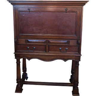 South Cone Trading Company Continental Style Drop Front Mahogany Bar Cabinet