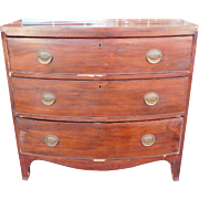 Antique English Georgian Period 19th Century Mahogany 3 Drawer Chest c1830
