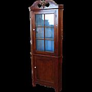 Antique Walnut 19th Century Country Colonial Primitive 2 Door Corner Cabinet Cupboard c1880