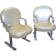Pair Mid Century 1960s Pace Furniture Aluminum Framed & Plastic Upholstered Cantilever Armchairs