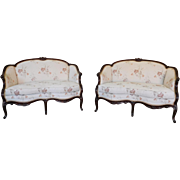 Fine Pair Antique Mahogany French Upholstered Louis XV Style Loveseats c1930