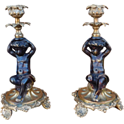 Pair 20th Century Bronze Cherub Putto / Putti Candlestick Holders
