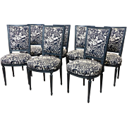 Set Of 7 Dark Black/Dk Green Painted French Louis XVI Square Back Dining Room Side Chairs c1960s