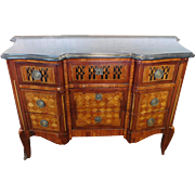Antique Mid 19th Century Transitional French Louis XVI Style Marble Top Inlaid 3 Drawer Commode Chest