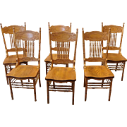 Set 6 1990s Pressed Back Oak Spindle Kitchen Dining Room Chairs