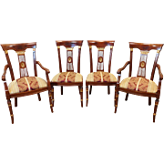 Set of 4 1990s Reproduction Inlaid Mahogany Italian Regency Style Dining Room Chairs