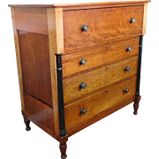 Antique American Empire Period Applewood & Tiger Maple Chest Of Drawers c1840