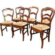 Set 6 Antique French Country Rush Seated Dining Room Chairs c1930s