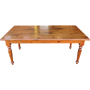Very Nice Knotty Pine Dining Room Farmhouse Tavern Farm Table w/ 2 Leaves ~ 36 X 73