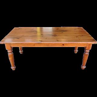 Very Nice Knotty Pine Dining Room Farmhouse Tavern Farm Table w/ 2 Leaves ~ 36 X 73
