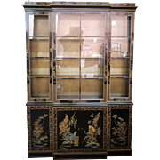 Drexel Heritage Et Cetera Collection Asian Chinoiserie Painted Dining Room China Cabinet 1980s 1 of 2