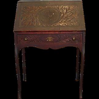 Petite Antique Carved Foliage Oak Slant Top Writing Desk c1890 ~ as is ~