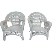 Pair Generic White Outdoor Patio Porch Wicker Armchairs ~ as is