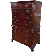 Fine Solid Mahogany 1940s Drexel Tall Gentleman's Chest Of Drawers