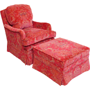 Fantastic Recently Upholstered Pink Patterned Silk Down Mix Bedroom Chair & Ottoman