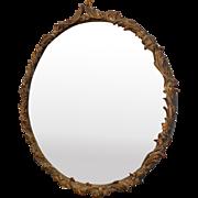 "Fine 31"" Diameter 1920s Gilded Gesso Decorative Hanging Wall Mirror"