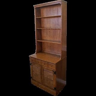 1980s Maple Ethan Allen Formica Top Room Plan Louvre Cabinet w/ Hutch Top Bookshelf