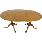 Baker Furniture Oak Queen Anne Dining Room Table w/ 3 Leaves ~ AS IS ~ Need Refinishing
