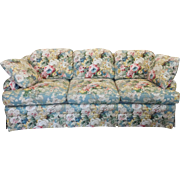 1980s Contemporary Overstuffed Upholstered Floral Sherrill Furniture Sofa