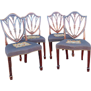 Set 4 1940s Mahogany Shield Back Sheraton Needlepoint Dining Room Chairs ~ as is ~