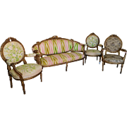 Antique 19th Century French Carved Giltwood w/ Rams Head Arms Louis XVI Style 4 Piece Parlor Set Consisting Of Canape Settee & 3 Armchairs c1880