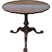 Vintage 1940s Mahogany Imperial Furniture Grand Rapids Pie Crust Table on Bird Cage Pedestal Base