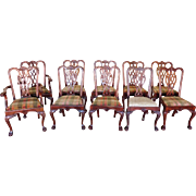 Set of 10 1990s Reproduction Solid Mahogany Chippendale Style Dining Room Chairs