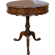 Antique Walnut 19th Century Queen Anne Leather Top Pedestal Table