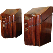Pair Antique c1830 English Georgian Period Mahogany Knife Boxes