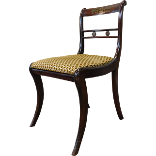 Antique English 19th Century Regency Rosewood Brass Inlaid Chair c1890