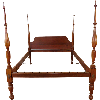 Antique 19th Century Post Mahogany Custom Crafted Queen Size 4-Poster Bed